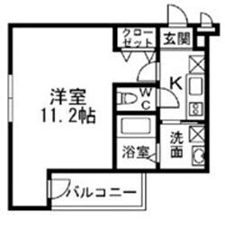 南海高野線 白鷺駅 徒歩4分の賃貸アパート 3階1Kの間取り