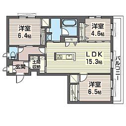 エミナール那珂川 1階3LDKの間取り