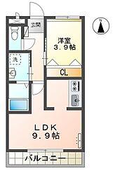 名鉄豊田線 三好ヶ丘駅 バス28分 ベイシア三好店下車 徒歩7分の賃貸アパート 2階1LDKの間取り