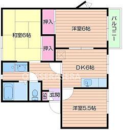 大阪府箕面市牧落1丁目の賃貸アパートの間取り