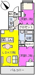 プラザ社田[305号室]の間取り