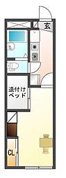 愛知県豊川市諏訪西町1丁目の賃貸アパートの間取り