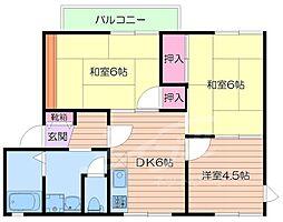 大阪府箕面市稲2丁目の賃貸アパートの間取り