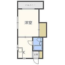 松亀荘 2階1DKの間取り