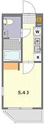 THE ROOMS渋谷本町 4階1Kの間取り