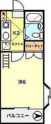 富士見台サンハイツ[201号室]の間取り