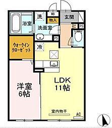 ベルテ 1階1LDKの間取り