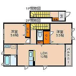 滋賀県長浜市高月町高月の賃貸アパートの間取り