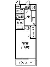 南海高野線 千代田駅 徒歩8分の賃貸アパート 地下1階1Kの間取り