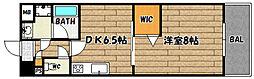 阪急京都本線 上新庄駅 徒歩9分の賃貸マンション 2階1DKの間取り
