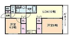 大橋マンション5番館[6階]の間取り