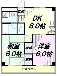 JR青梅線 昭島駅 徒歩13分の賃貸アパート 2階2DKの間取り