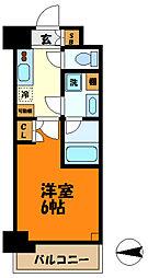 ハーモニーレジデンス武蔵小杉II 1階1Kの間取り