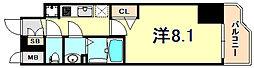 JR東海道・山陽本線 神戸駅 徒歩4分の賃貸マンション 9階1Kの間取り