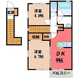 栃木県下野市緑1丁目の賃貸アパートの間取り