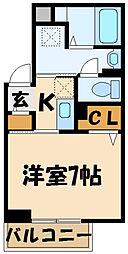 京王線 調布駅 徒歩6分の賃貸一戸建て 2階1Kの間取り