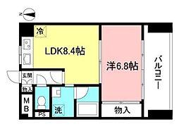 新丸子レジデンス 7階1LDKの間取り