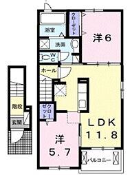 シティアサヒフロント 2階2LDKの間取り