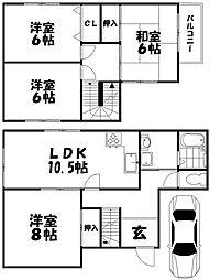 養父丘2丁目貸家 2階4LDKの間取り