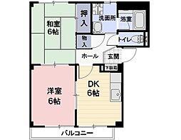 長野県上田市常磐城の賃貸アパートの間取り