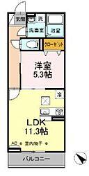 グレーヌメゾン 3階1LDKの間取り