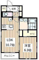 根津藍染ハウス 3階1LDKの間取り