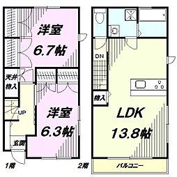 [テラスハウス] 東京都八王子市長房町 の賃貸【東京都 / 八王子市】の間取り
