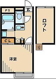 JR高崎線 桶川駅 徒歩27分の賃貸アパート 2階1Kの間取り