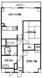 神奈川県平塚市四之宮1丁目の賃貸マンションの間取り