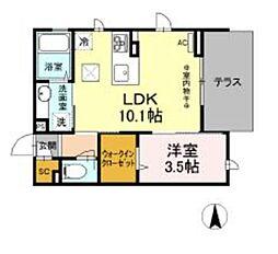 仮)D-room柏町 1階1LDKの間取り