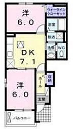 JR川越線 的場駅 徒歩16分の賃貸アパート 1階2DKの間取り