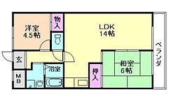エステート桜塚[3階]の間取り