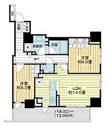 グレーシアタワー三鷹 14階2LDKの間取り