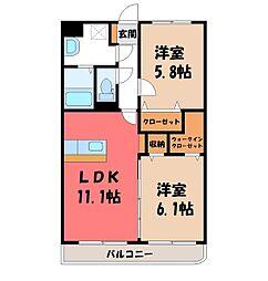 ユーミー桜 1階2LDKの間取り
