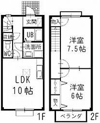 三岐鉄道北勢線 東員駅 徒歩4分の賃貸アパート 1階2LDKの間取り