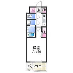 セレニテ日本橋プリエ 10階1Kの間取り