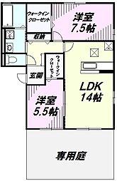 埼玉県入間市鍵山1丁目の賃貸アパートの間取り