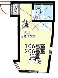 ユナイト中野島ジャン・レノ 2階ワンルームの間取り