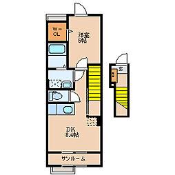 滋賀県長浜市地福寺町の賃貸アパートの間取り