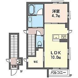 エリマリエ南加瀬 2階1LDKの間取り
