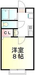 TY東松山II 2階1Kの間取り