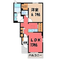 栃木県小山市西城南7丁目の賃貸アパートの間取り