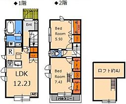 JR中央線 三鷹駅 バス11分 南新川下車 徒歩2分の賃貸テラスハウス 1階2LDKの間取り