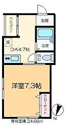 マルミット松島 3階1Kの間取り
