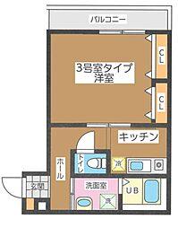 JR総武線 東船橋駅 徒歩10分の賃貸アパート 1階1Kの間取り