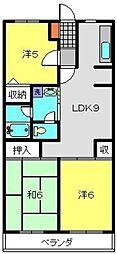 コーポフェニックスB[4階]の間取り