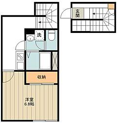 西武多摩湖線 青梅街道駅 徒歩12分の賃貸アパート 2階1Kの間取り