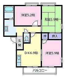 ヴィラコート壱番館B[2階]の間取り