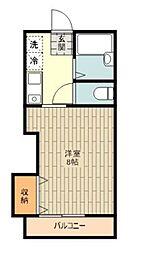 JR五日市線 東秋留駅 徒歩4分の賃貸アパート 2階1Kの間取り