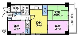 カメリヤマンション[9階]の間取り
